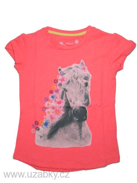 98-Dívčí tričko - krátký rukáv - WOLF - barva oranžová 9d4c90614a