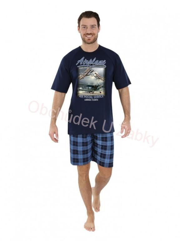 ad523300596a vel.2XL-Pánské letní pyžamo 100% bavlna Evona - modrá barva