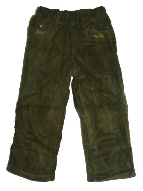 104-Dívčí manžestrákové zateplené kalhoty - zelená barva