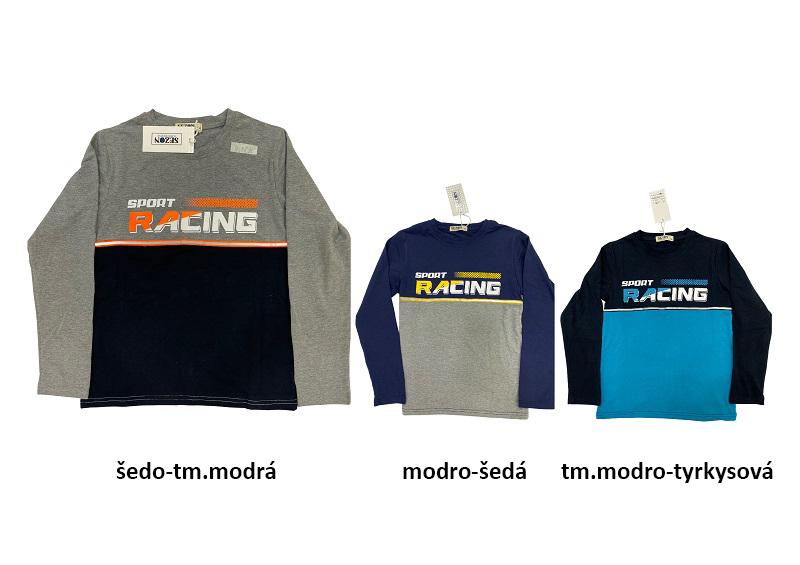 164-Chlapecké tričko - dlouhý rukáv SEZON 164 šedo-modrá