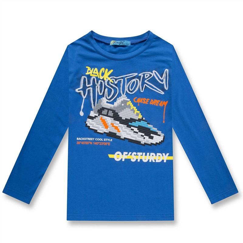 164-Chlapecké tričko KUGo - dlouhý rukáv - modrá barva 164