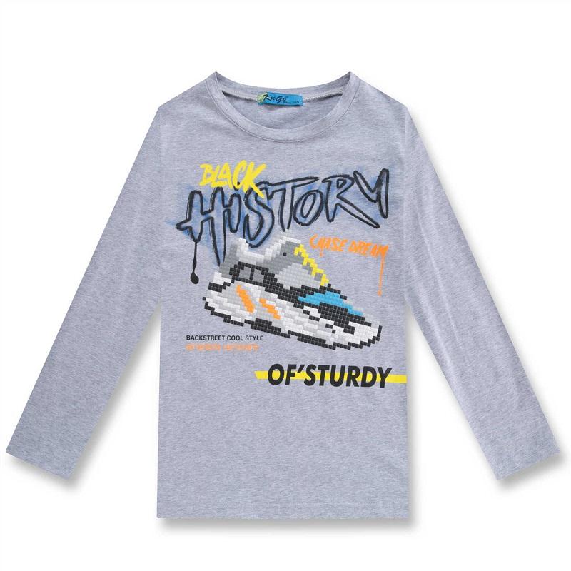 164-Chlapecké tričko KUGo - dlouhý rukáv - šedá barva 164