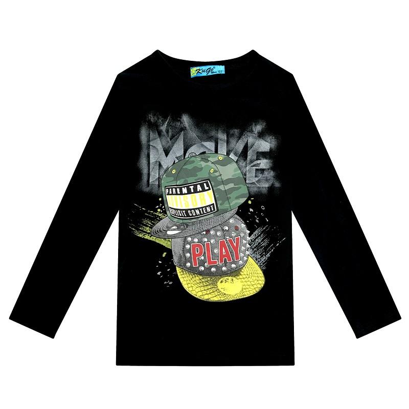 164-Chlapecké tričko KUGo - dlouhý rukáv - černá barva 164