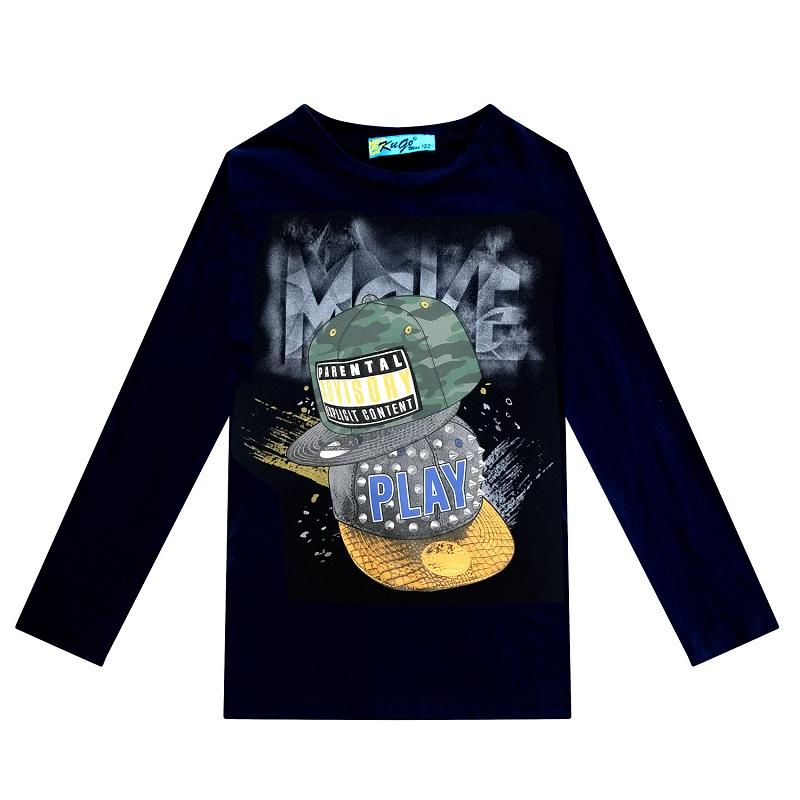 164-Chlapecké tričko KUGo - dlouhý rukáv - tm.modrá barva 164
