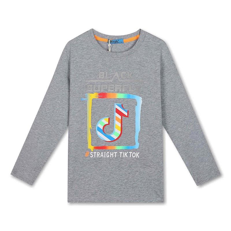 Chlapecké tričko KUGo T.T.- dlouhý rukáv - šedá barva 164