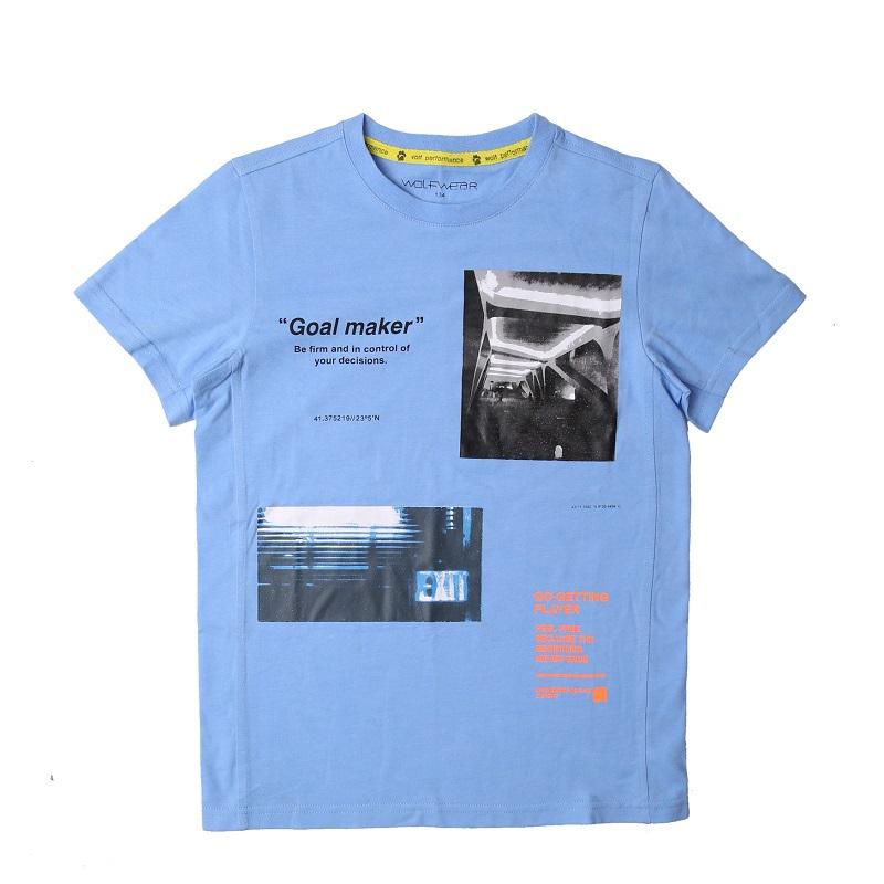 Chlapecké tričko WOLF - krátký rukáv - modrá barva 164