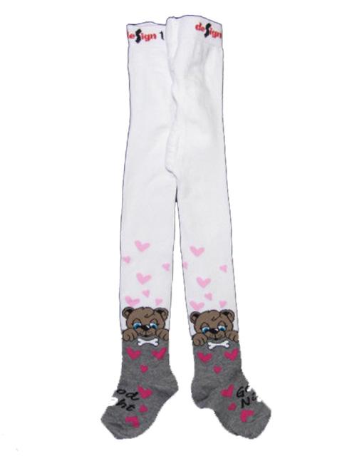104-110-Dívčí punčocháče s pejskem - barva bílá