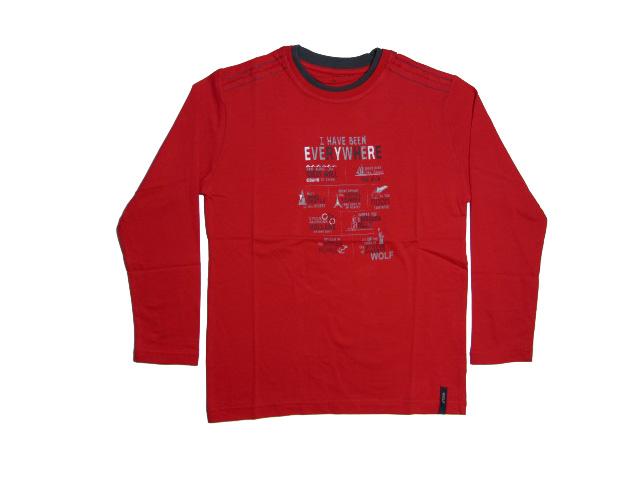 164-Chlapecké tričko - dlouhý rukáv WOLF - červená barva
