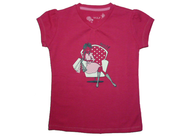 vel.122-Dívčí tričko - krátký rukáv - WOLF - barva tm.růžová