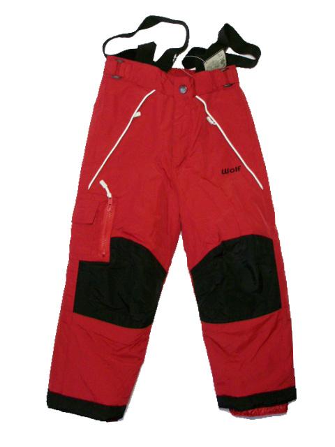 98,122-Lyžařské zateplené kalhoty - WOLF -červená barva
