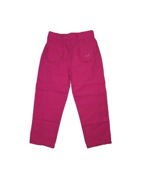 vel.98,104,110-Dívčí plátěné letní kalhoty WOLF - tm.růžová barva