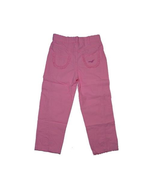 vel.104,110,122-Dívčí plátěné letní kalhoty WOLF - sv.růžová barva
