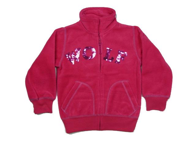vel.98-Dívčí fleesová mikina WOLF - tm.růžová barva