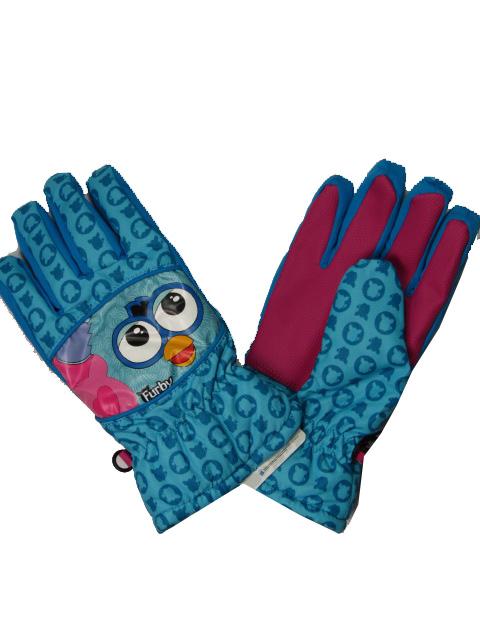 vel.122-152-Dívčí prstové zimní rukavice - Furby- - modrá barva