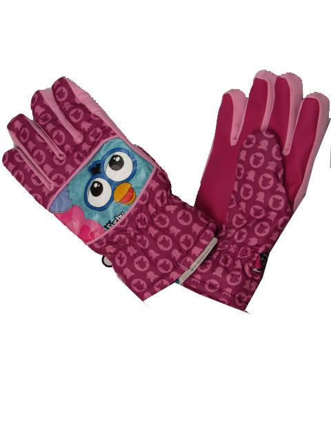 vel.122-152-Dívčí prstové zimní rukavice - Furby- starorůžová