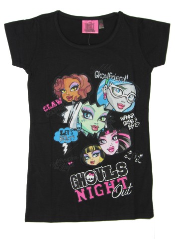 vel.152-Dívčí tričko - krátký rukáv - MOnster High - černá barva