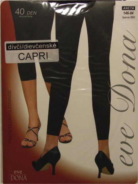 vel.134,140,146-Dívčí capri legíny EVONA - barva černá