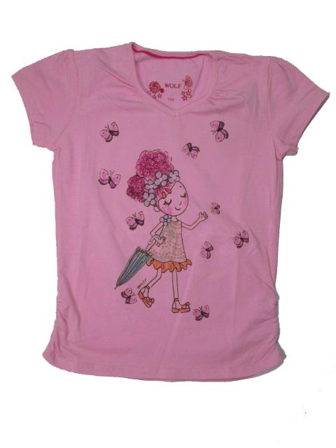 vel.122-Dívčí tričko - krátký rukáv - WOLF - barva růžová