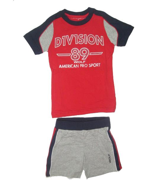 vel.104,110, Chlapecké letní pyžamo nebo komplet WOLF - barva červeno-šedá
