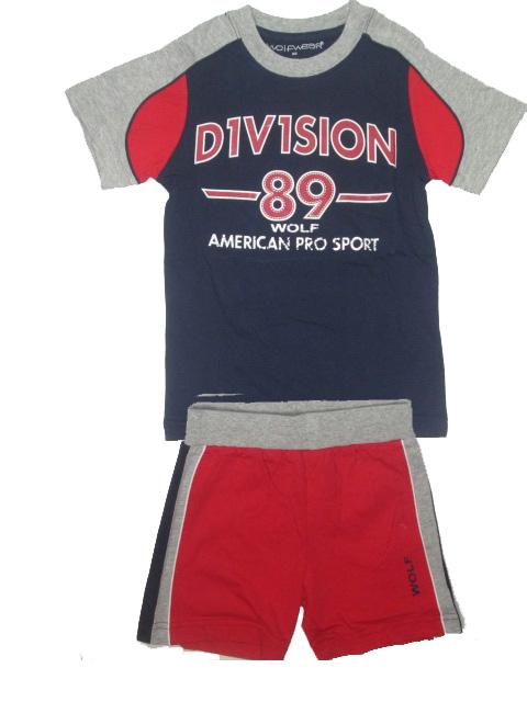 vel.110,-Chlapecké letní pyžamo nebo komplet WOLF - tm.modro-červená