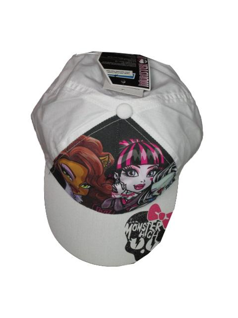 obvod 54,56-Dívčí kšiltovka Monster High - bílá barva
