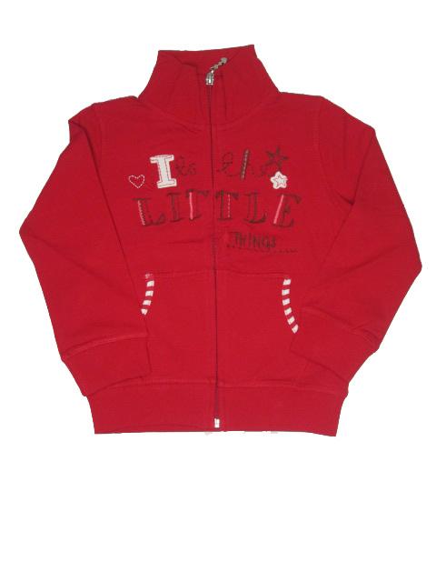 vel.98,104,110-Dívčí mikina WOLF - 100% bavlna - červená barva
