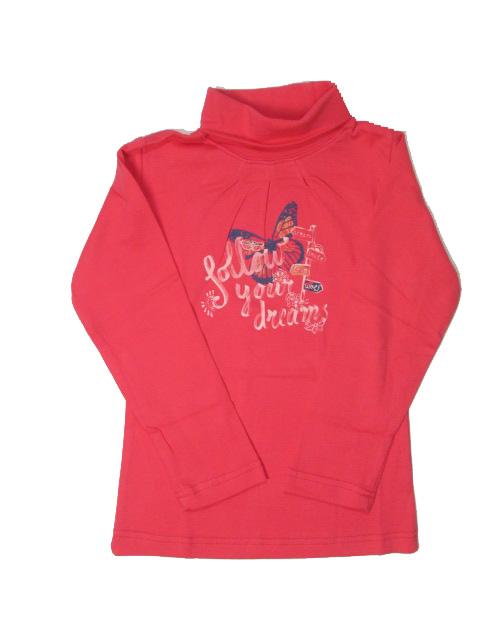 vel.104,122,-Dívčí rolák WOLF - barva růžovo-červená
