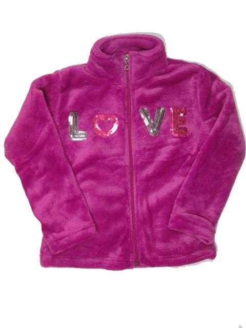 vel.98,104-Dívčí fleesová (chlupatka) mikina WOLF - fialová barva