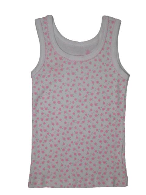 vel.86-92,110-116,-Dívčí košilka - tílko WOLF - bílá s růžovou kytičkou