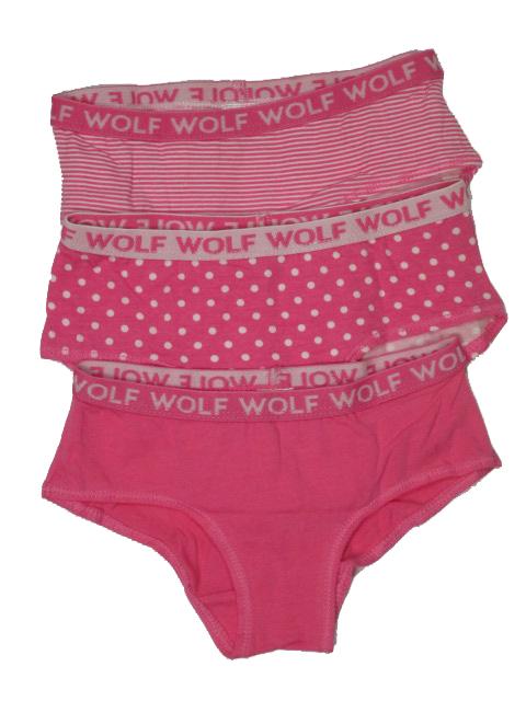 vel.98-104-Dívčí spodní kalhoty WOLF - trojpack