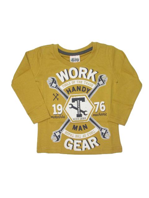 92,98,104-Chlapecké tričko - dlouhý rukáv Glo-Story - pískově žlutá barva
