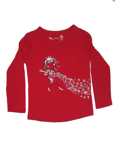 vel.104,122-Dívčí tričko - dlouhý rukáv WOLF - barva malinová