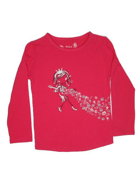 vel.98,104,110,116,122-Dívčí tričko - dlouhý rukáv WOLF - barva růžovo-čer.