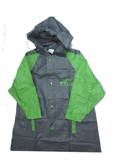 vel.116-128-Dětská pláštěnka FROG - šedo-zelená barva