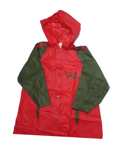 vel.116-140-Dětská pláštěnka FROG - červeno-khaki barva