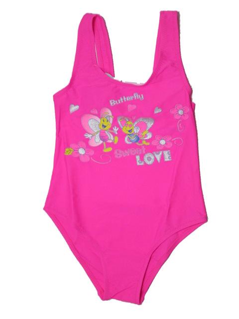 vel.134-Dívčí jednodílné plavky - neonově růžová