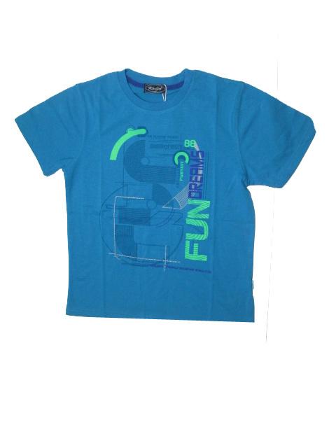 vel.164-Chlapecké tričko KUGO - krátký rukáv - tm.tyrkysové