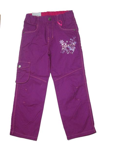 146-Dívčí letní plátěné kalhoty KUGo -fialová barva
