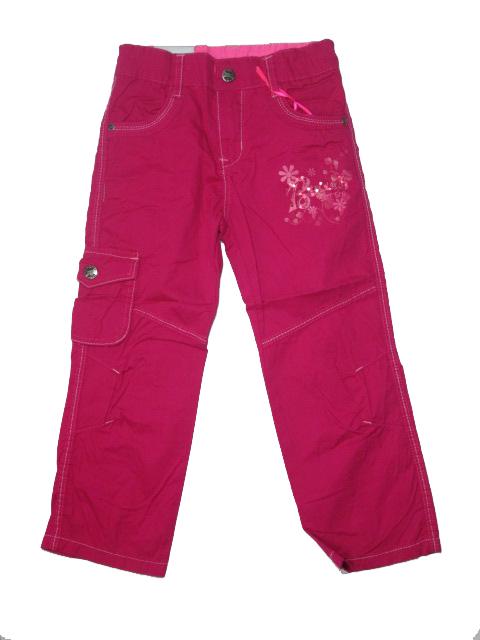 110,122,146-Dívčí letní plátěné kalhoty KUGo -tm.růžová barva