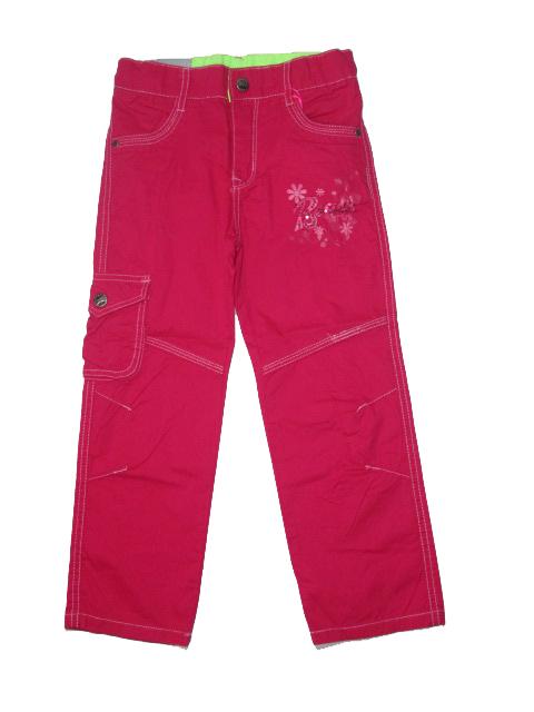 146-Dívčí letní plátěné kalhoty KUGo - růžová barva
