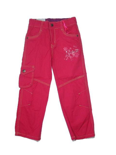110,122,134,146-Dívčí letní plátěné kalhoty KUGo - růžová barva