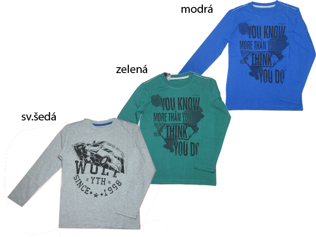 vel.140-164-Chlapecké tričko - dlouhý rukáv WOLF