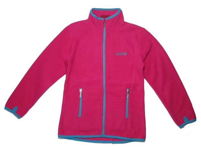 vel.122-Dívčí fleesová mikina WOLF - barva tm.růžová