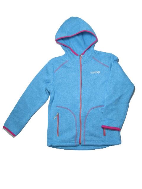vel.116,122,128-Dívčí zateplená mikina WOLF - sv.modrá barva