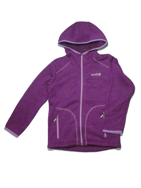 vel.122-Dívčí zateplená mikina WOLF - fialová barva