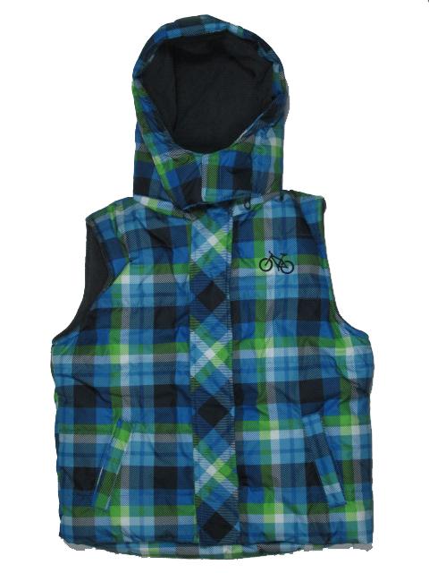 vel.98-122-Dětská zimní vesta s fleesem KUGO- modro-zelená barva