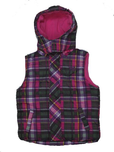 vel.98,104-Dětská zimní vesta s fleesem KUGO- fialovo-růžová barva