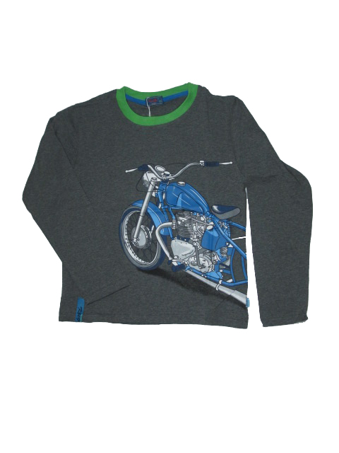 vel.146-164-Chlapecké tričko KUGo - dlouhý rukáv - barva šedá