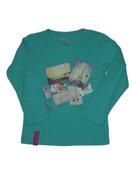 vel.116,128-Dívčí tričko KUGO - dlouhý rukáv - zelená barva