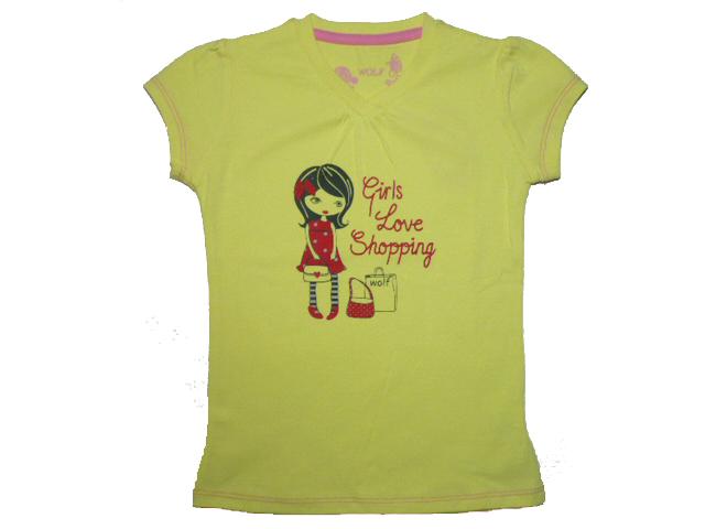 vel.98-122-Dívčí tričko - krátký rukáv - WOLF - barva žlutá